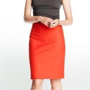 J CREW Womens Orange Wool Blend Pencil Skirt 2